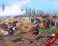 POLISH LIGHT CAVALRY BATTKE OF AT WAGRAM WAR PAINTING ART REAL CANVAS PRINT