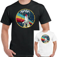 NASA T-Shirt Mens Distressed Logo Space Agency Shuttle Retro Geek Tee Top