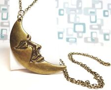HUGE CRESCENT MOON_Bronze Pendant on Chain Necklace_Night Full Goddess Wiccan