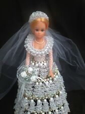 "Original Gorgeous Wedding Bride Doll Beads & Lace Dress 11"" H"