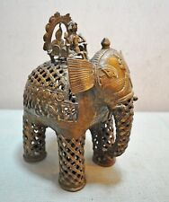 Original Old Antique Hand Crafted Engraved Brass Elephant With Rider Figurine