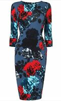 BNWT Phase Eight /8 Multi Coloured Hendon Floral Jersey Dress Size 18