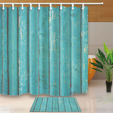 Turquoise Wood Waterproof Polyester-Fabric Shower Curtain & Bath Mat 180*180cm