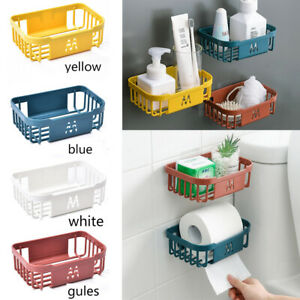 Organiser Basket Tidy Corner Storage Shower Rack Shelf With Suction Bathroom