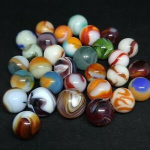 LOT OF 31 VINTAGE GLASS SWIRL MARBLES VARIOUS MANUFACTURERS PELTIER NLR AKRO CAC
