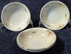 "Homer Laughlin Eggshell Nautilus Rochelle Berry Bowls 5 1/8"" Set of 4 Excellent"
