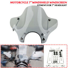 """Universal Motorcycle 7"""" Windshield Windscreen with Mounting Kit For Cruiser"""
