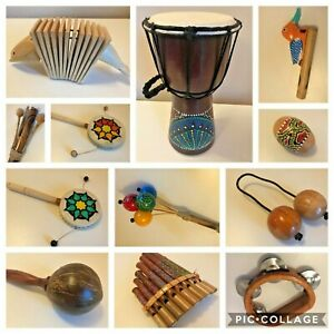 Musical Instrument Drum Djembe Tambourine Pan Pipes Egg Shaker Clacker maracas