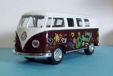 "1962 VW Hippie Bus-5"" Die Cast w/Pl Bk Power & Opening Drs-Burgandy & White 30"