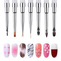 Dual-End Acryl Zeichen Stift UV Gel Liner Pinsel Strass Griff Nail Art Tools