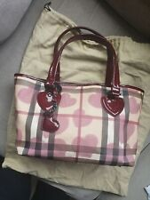 Burberry Prorsum Nova Check Heart Canvas Red Patent Leather Tote Shopper Bag