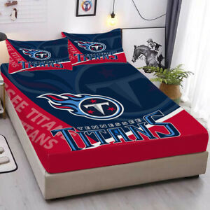 Tennessee Titans Fitted Sheet 3PCS Bed Sheets & Pillowcase Bedding Sets Gift