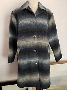 Woolrich Womens Blanket Wool Jacket Coat Southwestern Striped Size Small
