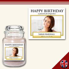 C5 Personalised Medium Custom Photo Candle Jar Label Sticker Celebration Gift