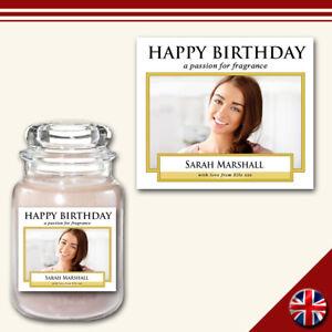 Personalised Photo Candle Label Medium Custom Sticker Celebration Gift Simple