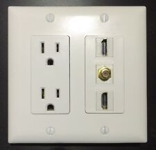 2 GANG Power Outlet 15A 125V 2x HDMI 1x COAX CABLE TV Wall Plate White Decora