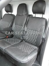 TO FIT RENAULT TRAFIC SPORT VAN SEAT COVERS 2016 CROSS STITCH BLK LEATHERETTE