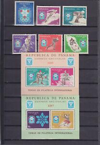 PANAMA 1968, WINTER OLYMPICS, 2 COMPLETE SETS + 3 BLOCKS, MNH