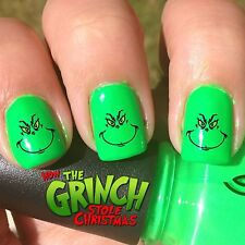The Grinch Face Christmas Holiday Nail Art Waterslide Decals