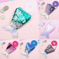 Girls Kids Mermaid Tail Sequins Crossbody Bags Coin Purse Card Holder Pouch