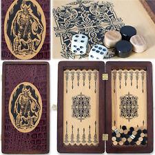 "Handmade Wooden Backgammon Board 12"" VIKING Travel Set Cool Grooms Gift НАРДЫ"