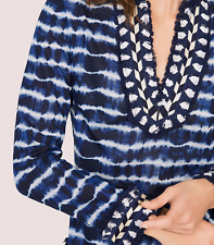 New Tory Burch Tie Dye Stripe Navy Tunic Top 8 Semisheer Cotton Voile Fringe NWT