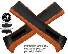 BLACK & ORANGE LEATHER 2X UPPER B PILLAR COVER FOR JEEP WRANGLER JK 11-17 4 DOOR