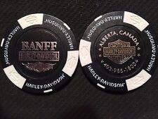 "Harley Davidson Poker Chip (Black & White) ""Banff"" Alberta, Canada"