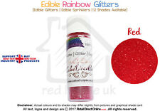 Rainbow Glitter | 100 % Edible | Cake Decorating Craft | 7 Grams | Red