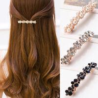 Cn _ Femmes Exquis Strass Perle Synthétique Épingle à Cheveux Pince Style Dé