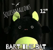 "NWT Squishmallows Kellytoy 12"" BART Black Lime Green Bat Halloween 2020 Plush"