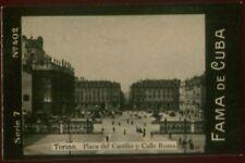 TORINO, PLAZA TOBACCO CARD FAMA DE CUBA CIGARETTES VENEZUELA CIRCA 1910