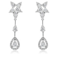 14K WHITE GOLD DIAMOND DANGLING TEARDROP TEAR DROP DANGLE EARRINGS