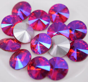 100 pcs Crystal Rhinestone Faceted Glass Color AB Round Jewels Button beads