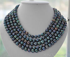 z5280 LONG 10mm round PEACOCK BLACK Freshwater pearl necklace 100inch