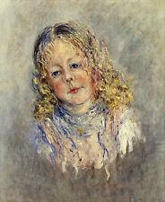 Oil painting Claude Monet - Little girl portrait Andre Lauvray canvas