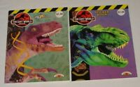 two 1997 JURASSIC PARK LOST WORLD activity books~ Paint With Water, Sticker Book