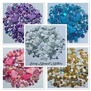 100 x MIXED FLAT BACK RESIN & ACRYLIC CABOCHONS & EMBELLISHMENTS Choose Colour