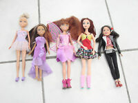 """Mixed lot of 5 dolls  Disney, Mattel , one is singing McKenzie, 9-12"""" w/ clothes"""