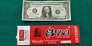 SAXON   UNUSED TICKET  Spain FREE SHIPPING WORLDWIDE WITH TRACKING