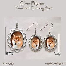 Shiba Inu Dog - Filigree Pendant Earring Set