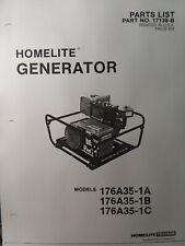 Homelite 176a35 1a 1b 1c D Gasoline Generator Parts Manual Camping Back Up Power
