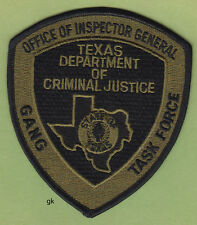 TEXAS DEPARTMENT. OF CRIMINAL JUSTICE   GANG TASK FORCE PATCH  (Subdued)
