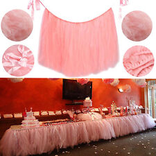 USA XMAS Tulle Tutu Table Skirt Wedding Party Xmas Baby shower Decor Pink GW