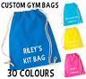 Personalised Cotton Drawstring Bag PE Gym Kit School P.E Kids Sport Rucksack FDC