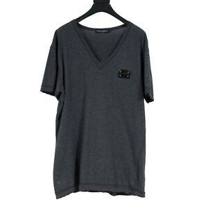 Dolce & Gabbana Double Layered Gray V Neck Logo Plaque T Shirt Size 52
