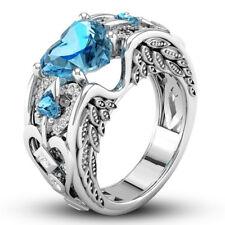 Princess 925 Silver Red Ruby Gemstone Birthstone Wedding Engagement Heart Ring