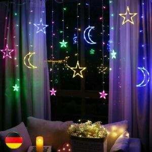 2.5m LED Lichterkette Sternenvorhang Lichtervorhang Weihnachten Dekoration DE
