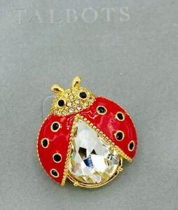 NIB Talbots Gold Tone Shiny Red Enamel Faceted Crystal Ladybug Brooch Pin