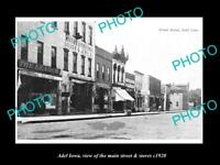 OLD LARGE HISTORIC PHOTO OF ADEL IOWA, VIEW OF THE MAIN ST & STORES c1920